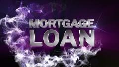 MORTGAGE LOAN Text in Particle (Double Version) Blue - HD1080 Stock Footage