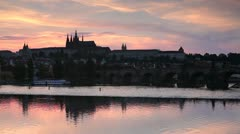 St. Vitus Cathedral, Charles Bridge, Prague Stock Footage