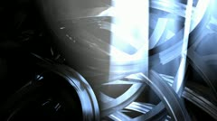 Abstract animation, metal wires, lights and particles. Stock Footage