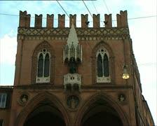 BOLOGNA mercanzia palace facade Stock Footage