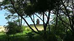 Easter Island Anakena Ahu Ature Huke through tree 8 Stock Footage