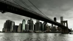 Dark clouds hanging over New York City Brooklyn Bridge timelapse 25P PAL Stock Footage