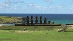 Rapa Nui Anakena platform and sea s4 Stock Footage