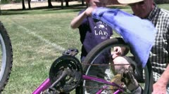 Boy bicycle, grandfather Stock Footage
