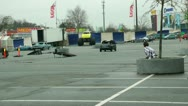 Stock Video Footage of Car crushing and rolling over at stunt show