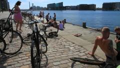 Scandinavian Harbour Pool with Sunbathers and Swimmers, Denmark GFHD - stock footage