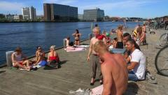 Copenhagen Harbour Baths 03 GFHD - stock footage