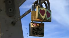 Love Padlocks on the Bryggebroen ECU, Copenhagen GFHD - stock footage