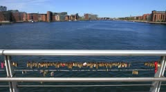 WS of Copenhagen and Love Padlocks on the Bryggebroen GFHD - stock footage