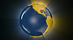 Earth Globe Blue and Yellow Rotating, loop, shine - stock footage