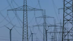 Wind Turbine and Power Lines - stock footage