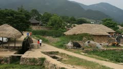 Folk Village in Nakan fortress, South Korea Stock Footage