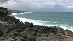 Easter Island bumpy lava on cove 5c Stock Footage