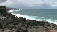 Easter Island bumpy lava on cove 5c Stock Footage