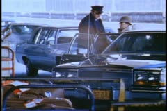 Pier 88, New York City, 1982 World Cruise of the QE2, limousines arriving Stock Footage