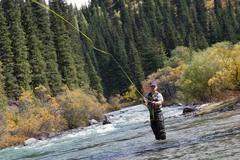 Fisherman fly fishing Stock Photos