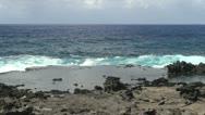 Easter Island shallows among jagged rocks 2b Stock Footage