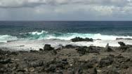 Easter Island waves aqua green 3 Stock Footage