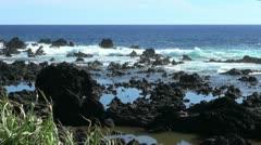 Easter Island lava around pools 4b Stock Footage