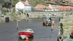 Boats at Staithes - stock footage