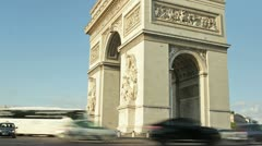 Timelapse of the Triumphe Arch in Paris france, champs elysees - stock footage