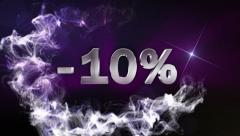 -10% Text in Particle (Double Version) Blue - HD1080 Stock Footage