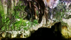 Natural Spring On Wall Of Underground River Cave Stock Footage
