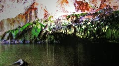 Underground River Flowing Through Limestone Cave Stock Footage