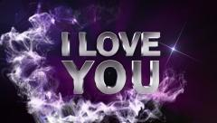 I LOVE YOU Text in Particle (Double Version) Blue - HD1080 Stock Footage