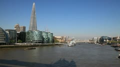 South Bank skyline featuring the Shard London Bridge, London, England - stock footage