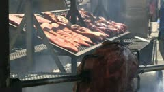 Pork ribs, turkey legs barbecue Stock Footage