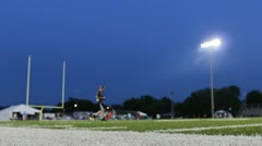 Football field at night with smoked lights Stock Footage