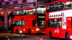 Bus Picadilly Circus Night Stock Footage