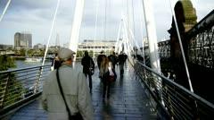 Waterloo Bridge pedestrian walkway Stock Footage