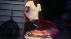 Man Doing BBQ 16mm Super8 Stock Footage