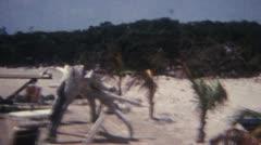 BEach Boat Picnic picknick Palms 16mm Super8 Stock Footage