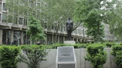 Statue of Ronald Reagan outside the American embassy in London Stock Footage