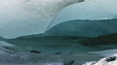 Ice Cave Melting under Receding Glacier Stock Footage