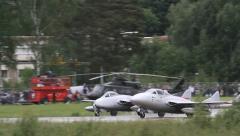 De Havilland Vampire fighter jet at airshow Stock Footage
