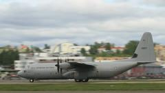 Locheed Martin C-130J Hercules at airshow Stock Footage