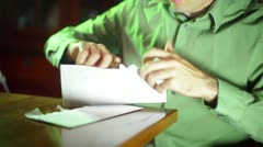 Opening letter mail bill bills taxes open Stock Footage