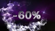 -60% Text in Particle (Double Version) Blue - HD1080 Stock Footage