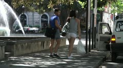 Stock Video Footage of Group of people on the street in summer in Europe.