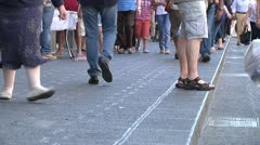 Anonymous crowd of people walking Italian, sicilian City street Stock Footage