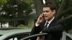 Business Man on a Cell Phone Stock Footage