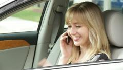 Woman on the Mobile Phone in the Car Stock Footage