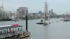 Tall Ship Moored on the Thames before the Jubilee Pageant Stock Footage