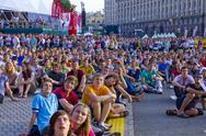 Fans Euro 2012 Watching Large Screen in Kyiv Stock Photos
