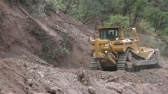 Road repair construction jcb Stock Footage