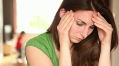 Young women suffering from headache5 - stock footage